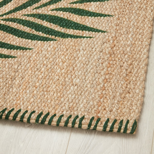 "SOMMAR 2020 Rug, flatwoven, green leaves/natural, 2 ' 7 ""x4 ' 11 """