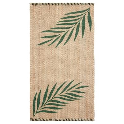 "SOMMAR 2020 rug, flatwoven green leaves/natural 4 ' 11 "" 2 ' 7 "" ½ "" 12.92 sq feet 9.83 oz/sq ft"