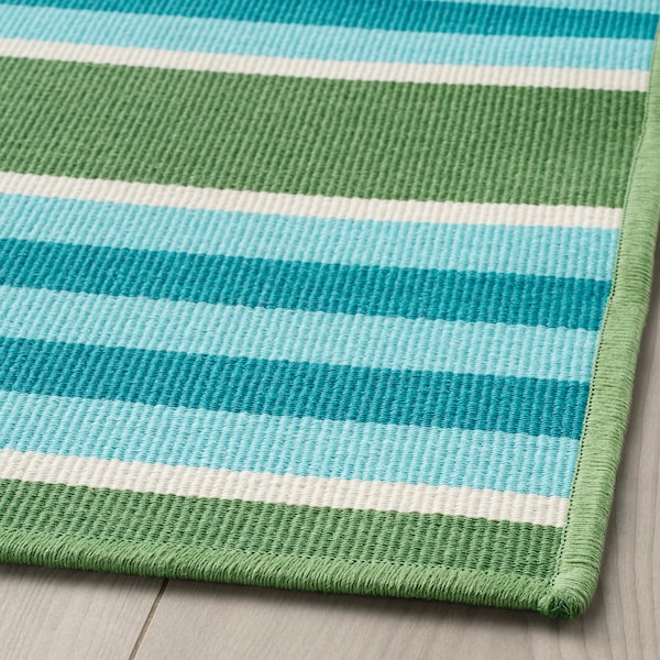 "SOMMAR 2020 rug flatwoven, in/outdoor stripe/green/white 7 ' 10 "" 5 ' 7 "" 0 "" 43.92 sq feet 2.62 oz/sq ft"