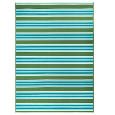 """SOMMAR 2020 rug flatwoven, in/outdoor stripe/green/white 7 ' 10 """" 5 ' 7 """" 0 """" 43.92 sq feet 2.62 oz/sq ft"""