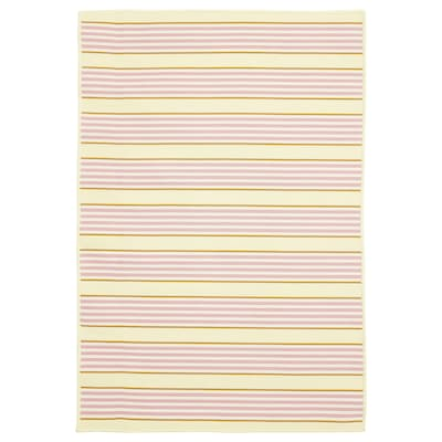 """SOMMAR 2020 rug flatwoven, in/outdoor stripe/pink/yellow 3 ' 3 """" 2 ' 4 """" 0 """" 7.53 sq feet 2.62 oz/sq ft"""