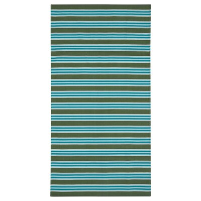 "SOMMAR 2020 Rug, flatwoven, stripe turquoise/green, 2 ' 7 ""x4 ' 11 """