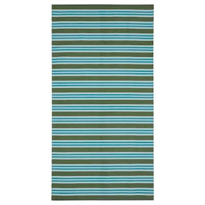 "SOMMAR 2020 rug, flatwoven stripe turquoise/green 4 ' 11 "" 2 ' 7 "" 12.92 sq feet 3.20 oz/sq ft"