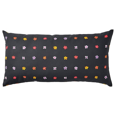 SOMMARBINKA Cushion, black/multicolor, 12x23 ""