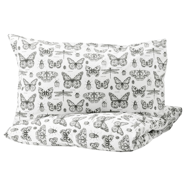 "SOMMARMALVA duvet cover and pillowcase(s) white/dark gray 152 /inch² 2 pack 86 "" 102 "" 20 "" 36 """