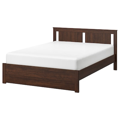 SONGESAND Bed frame, brown/Luröy, Queen