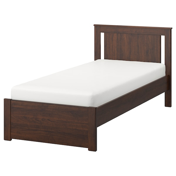 SONGESAND Bed frame, brown/Luröy, Twin