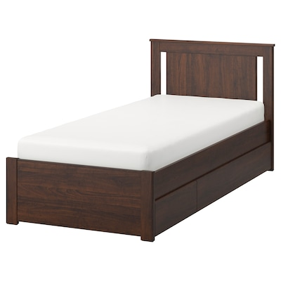 SONGESAND Bed frame with 2 storage boxes, brown/Luröy, Twin