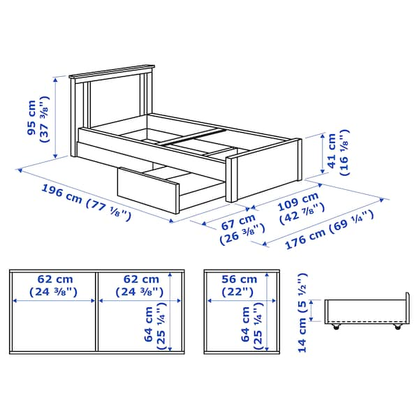 SONGESAND Bed frame with 2 storage boxes, white/Luröy, Twin