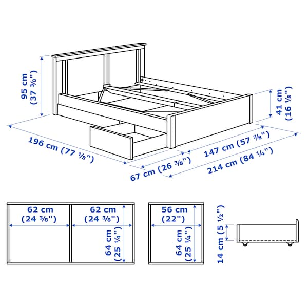 SONGESAND Bed frame with 2 storage boxes, white, Full/Double