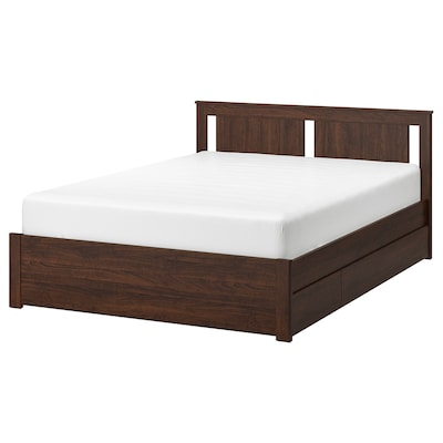 SONGESAND Bed frame with 4 storage boxes, brown/Luröy, Queen