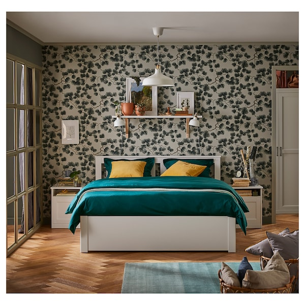"""SONGESAND bed frame with 4 storage boxes white/Luröy 5 1/2 """" 77 1/8 """" 57 7/8 """" 37 3/8 """" 22 """" 25 1/4 """" 16 1/8 """" 37 3/8 """" 74 3/8 """" 53 1/8 """""""