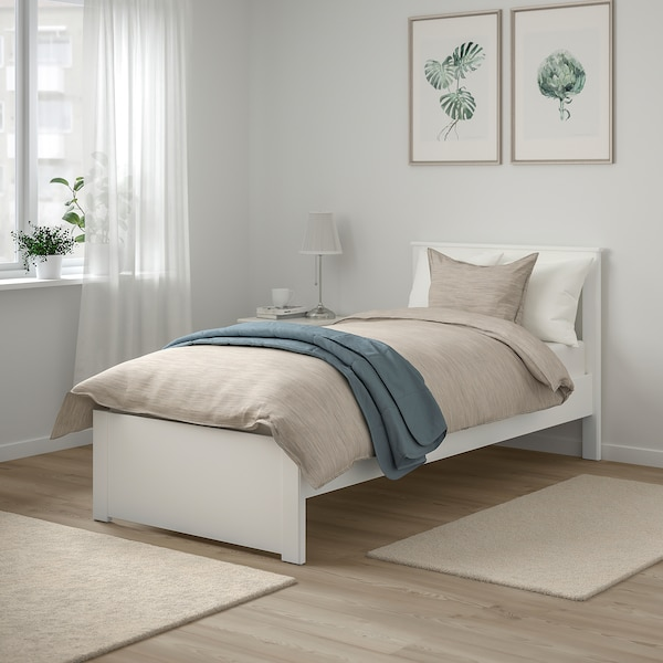 """SONGESAND bed frame white/Luröy 77 1/8 """" 42 7/8 """" 16 1/8 """" 37 3/8 """" 7 7/8 """" 74 3/8 """" 34 1/4 """""""