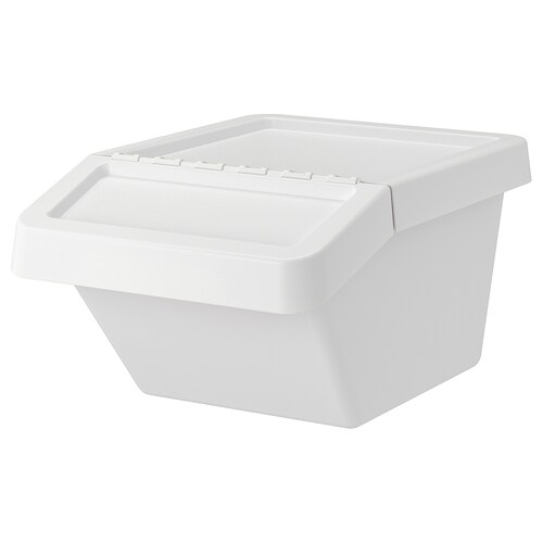 "SORTERA recycling bin with lid white 16 ¼ "" 21 ¾ "" 11 "" 10 gallon"