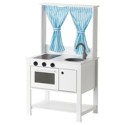 "SPISIG play kitchen with curtains 21 5/8 "" 14 5/8 "" 38 5/8 """