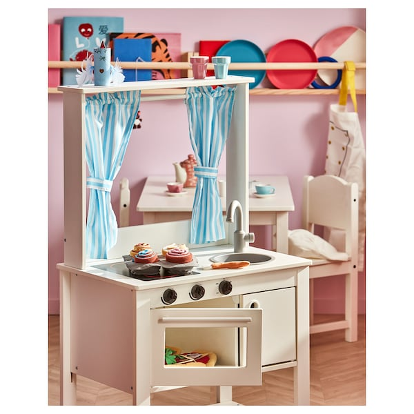 SPISIG Play kitchen with curtains, 21 5/8x14 5/8x38 5/8 ""
