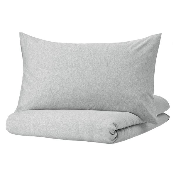 SPJUTVIAL Duvet cover and pillowcase(s), light gray/mélange, Full/Queen (Double/Queen)