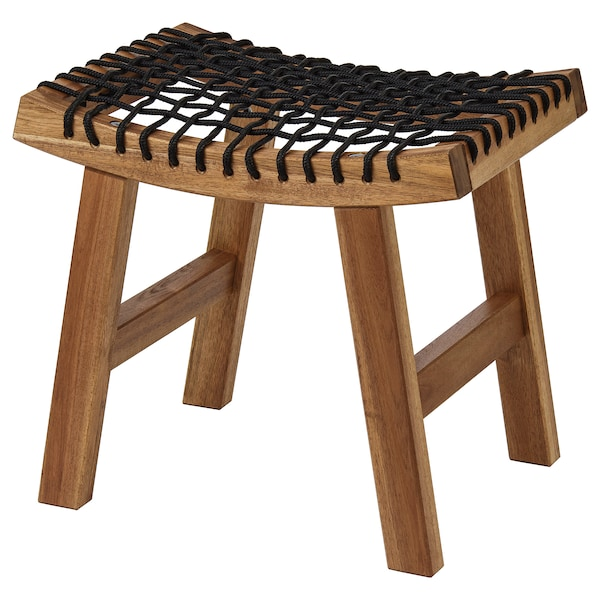 """STACKHOLMEN Stool, outdoor, light brown stained, 18 7/8x13 3/4x16 7/8 """""""