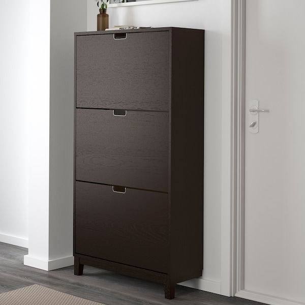 STÄLL Shoe cabinet with 3 compartments, black-brown, 31 1/8x58 1/4 ""