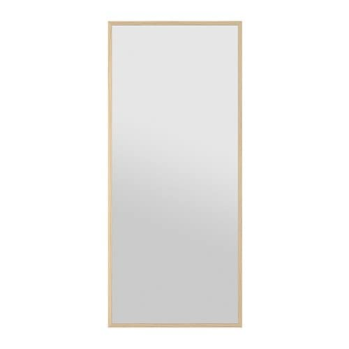 Stave mirror white stained oak effect 27 1 2x63 ikea for Miroir ikea stave
