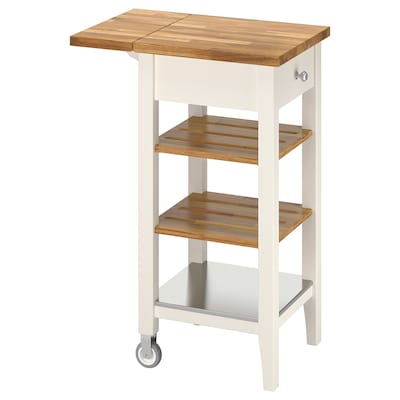 STENSTORP Kitchen cart, white/oak, 17 3/4x16 7/8x35 3/8 ""