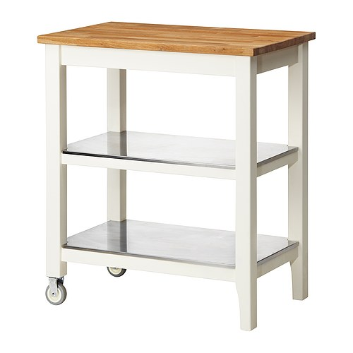 IKEA Stenstorp Kitchen Cart In Oak With Stainless Steel Shelves Islands Kitch