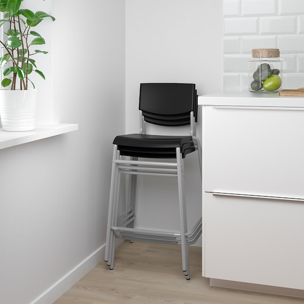 STIG Bar stool with backrest, black/silver color, 24 3/4 ""