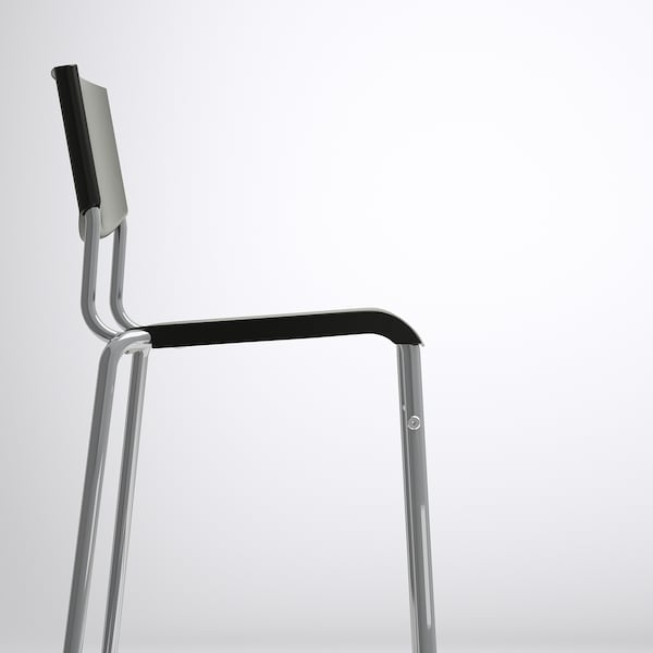 "STIG bar stool with backrest black/silver color 220 lb 23 5/8 "" 19 5/8 "" 39 3/8 "" 14 1/8 "" 13 3/8 "" 29 1/8 """