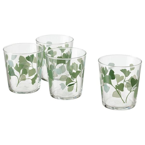 STILENLIG Glass, clear glass leaf patterned/green, 10 oz