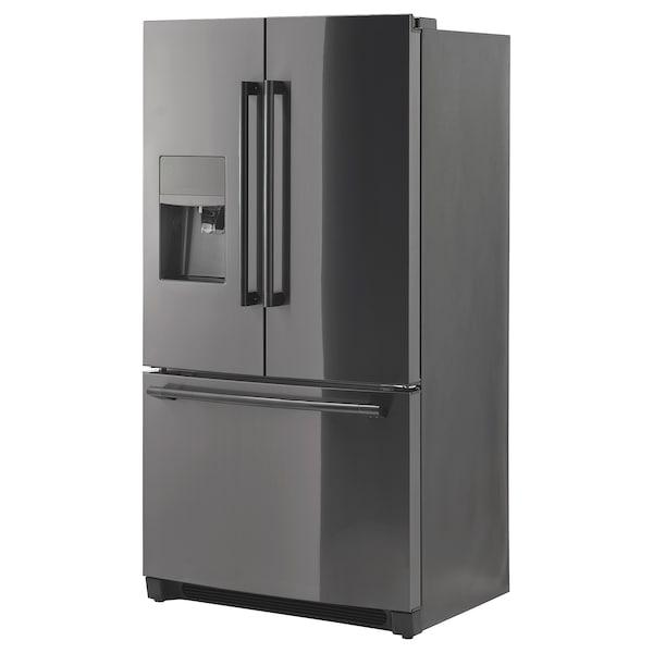 STJÄRNSTATUS French door refrigerator, black Stainless steel, 21.7 cu.ft