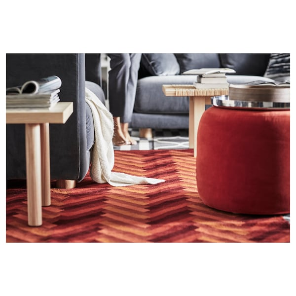 "STOCKHOLM 2017 rug, flatwoven handmade/zigzag pattern orange 7 ' 10 "" 5 ' 7 "" 43.92 sq feet"