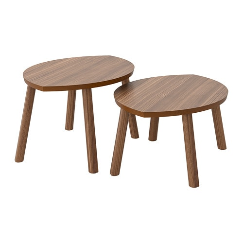 STOCKHOLM - Nesting tables, set of 2, walnut veneer