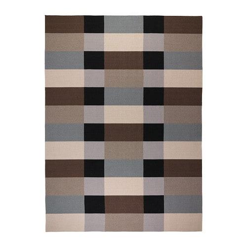 STOCKHOLM Rug, flatwoven, handmade checkered, checkered brown brown