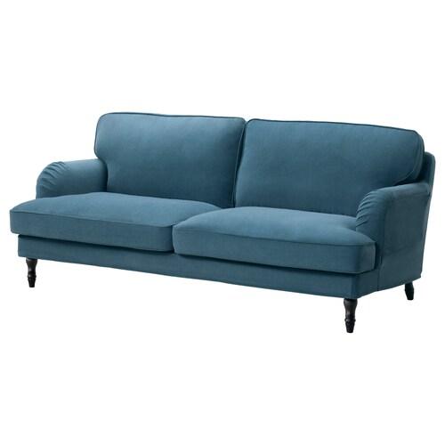 "STOCKSUND sofa Ljungen blue/black/wood 33 1/8 "" 28 3/4 "" 78 3/8 "" 38 1/4 "" 5 1/8 "" 65 3/4 "" 22 7/8 "" 18 1/8 """