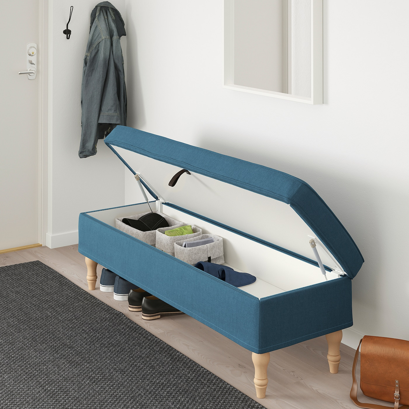 Stocksund Bench Ljungen Blue Width 56 3 4 Height 18 1 2 Learn More Ikea
