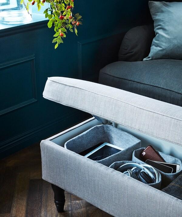 STOCKSUND Bench, Nolhaga gray-beige/black/wood