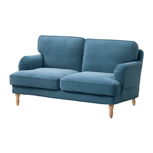 STOCKSUND Loveseat, Ljungen blue, light brown/wood