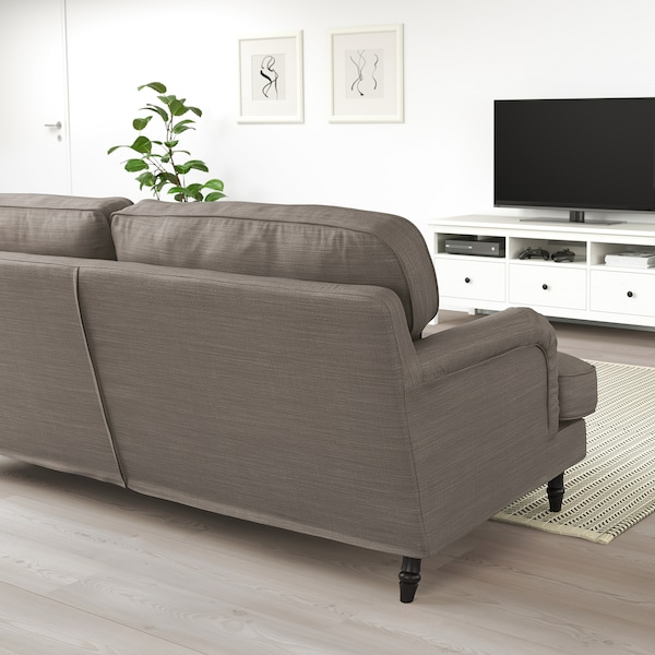 STOCKSUND Sofa, Nolhaga gray-beige/black/wood