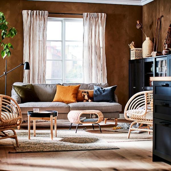STOCKSUND Sofa, Nolhaga gray-beige/light brown/wood