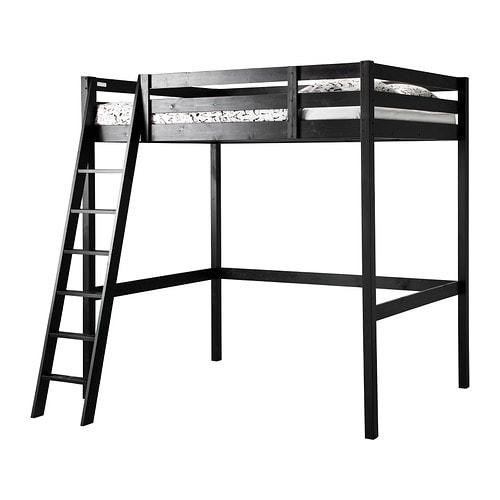 STORÅ Loft bed frame, black black Full/Double