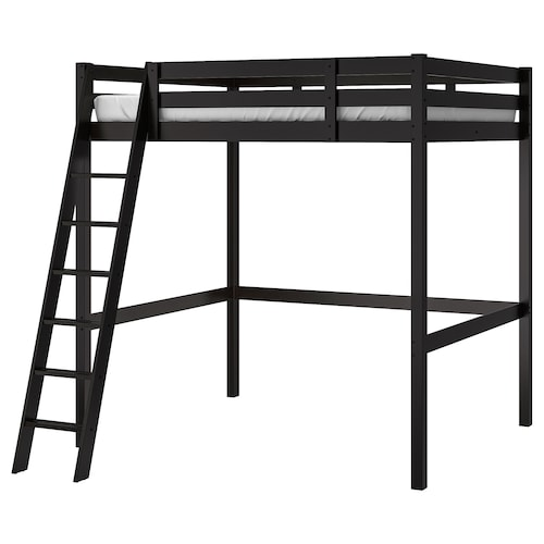 "STORÅ loft bed frame black 79 7/8 "" 67 3/8 "" 57 7/8 "" 84 1/4 "" 74 3/8 "" 53 1/8 """