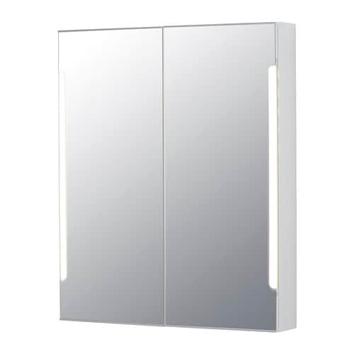 storjorm mirror cabinet w 2 doors light 31 1 2x5 1