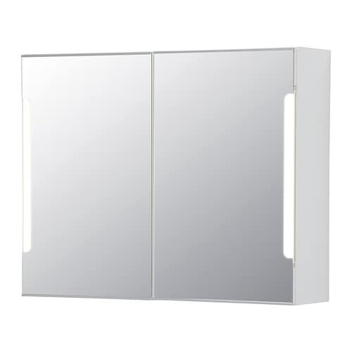 STORJORM Mirror cabinet w/2 doors & light IKEA The LED light source consumes up to 85% less energy and lasts 20 times longer than incandescent bulbs.