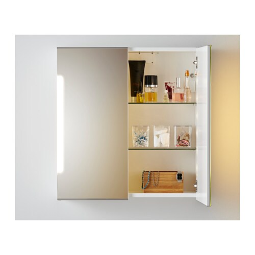 STORJORM Mirror cabinet w/2 doors & light - 23 5/8x5 1/2x37 3/4 ...