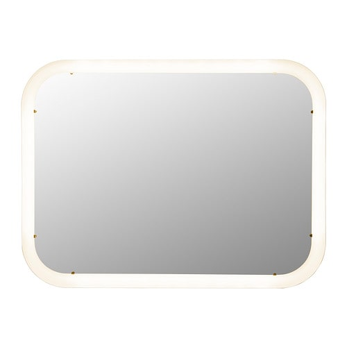 STORJORM Mirror with built-in light, white white 31 1/2x23 5/8