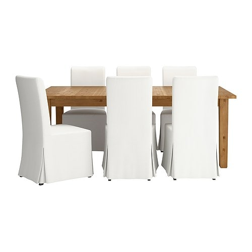 STORNÄS / HENRIKSDAL Table and 6 chairs, brown-black, Blekinge white
