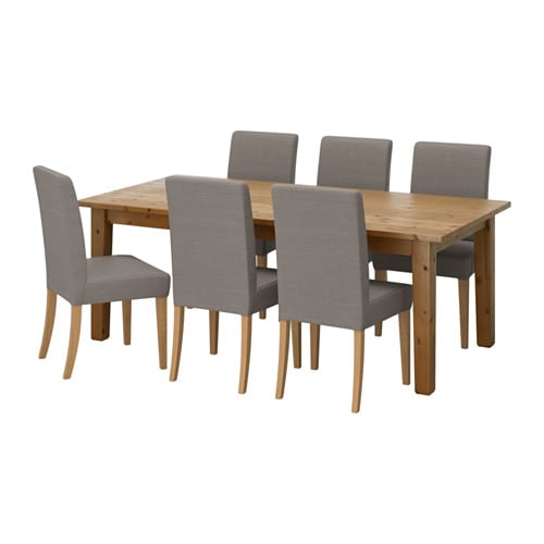 STORNÄS / HENRIKSDAL Table and 6 chairs, antique stain, Nolhaga gray-beige