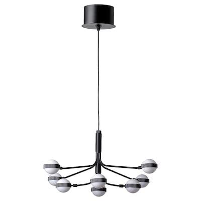STORSLINGA LED chandelier, 8-armed, black/white