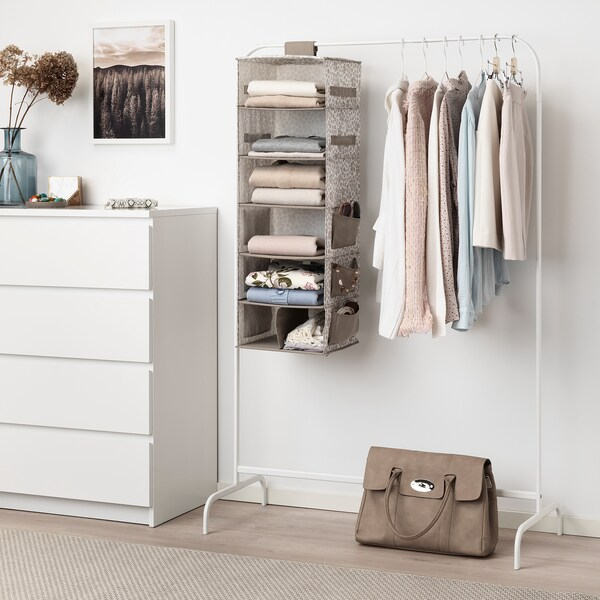 "STORSTABBE hanging storage with 7 compartments beige 11 ¾ "" 11 ¾ "" 35 ½ """