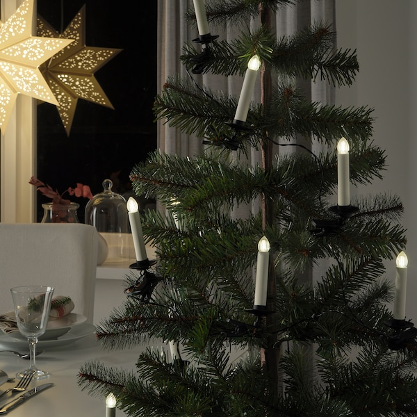 STRÅLA LED lighting chain with 10 lights, battery operated/candle shaped with clip